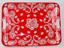 Melamine Serving Tray Red White Paisley Flower Rectangular HD Designs Outdoors