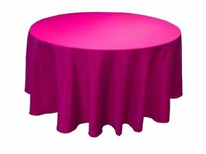 """5 PACK 90"""" inch ROUND Tablecloth Polyester WEDDING Banquet Overlay 25 Colors"""