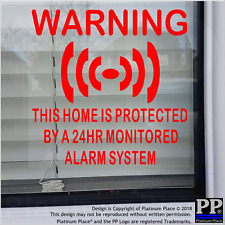 6 x HOME Protected Alarm System-RED-Internal Stickers-House,Bungalow,Security