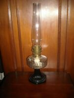 """Aladdin 23 glass and brass oil lamp 24"""" tall working condition pre owned"""
