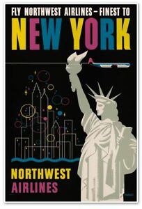 """NEW YORK Airline Promotional Skyline Statue of Liberty Travel Poster 24""""x36"""""""