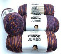 Caron Jumbo Variegated 100% Acrylic Yarn 12 oz Plum Copper 294008 Lot Of 4