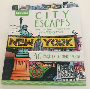 New Crayola City Escapes 40 Pages Coloring Book made in USA