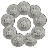 2017 Canada $5 1 oz. Silver Maple Leaf Lot of 10 Coins GEM BU SKU44168