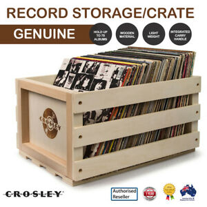 CROSLEY VINYL RECORD ALBUM STORAGE CRATE WOODEN BOX HOLD 75 NATURAL