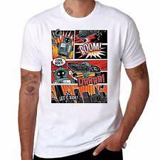 Skate board freestyle robot comic Men's Funny Ringer T-shirt Short Sleeve Tops