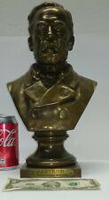 """Antique bronze LOUIS PASTEUR bust sculpture 14"""" by Adrien Etienne Gaudez XIX"""