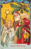 Christmas Postcard Santa Claus Wearing Green Sash Angel with Gold Wings~125585