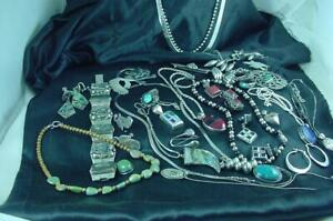 Sterling Silver Turquoise Coral Black Onyx Jewelry Lot Pins Necklaces &ERs #2012
