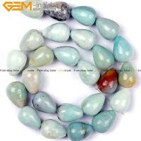 "Natural Stone Teardrop Amazonite Gemstone Loose Beads For Jewelry Making 15"""