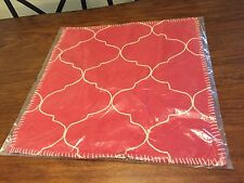"""1 Rare Pottery Barn Pillow Cover Red Moroccan Tile Embroidered 22"""" Pillow Sham"""