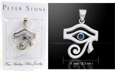 Eye of Horus Ra Sterling 925 Silver Pendant by Peter Stone Azurite Protection