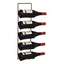 Mounted Wine Rack, 5 Bottle Black Metal Wall Storage Holder Shelf