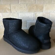 UGG Classic Mini Milky Way Black Sparkle Suede Fur Boots Size 10 Womens