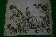 LOVELY FAWN / BROWN LINEN TRAY CLOTH / PLACE SETTING WITH BIRD DESIGN - VGC