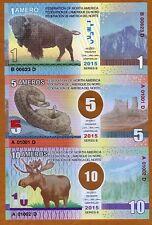 FEDERATION OF NORTH AMERICA 10 5 1 Ameros 2015 4 x FANTASY Polymer Banknote Set