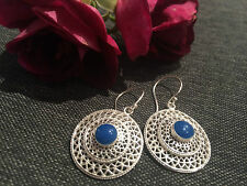 925 STERLING SILVER RAISED DISC HOOPS WITH DARK BLUE CENTRE