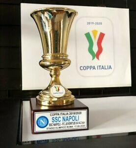 """NAPOLI SSC MINIATURA """"COPPA ITALIA 2020"""" RESINA GALVANICA ORO/ARGENTO"""