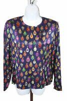 Carlisle Womens Ladies Multicolor Long Sleeve Crewneck Blouse Top Size 8
