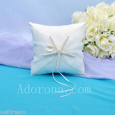Ivory Satin Bow Ring Bearer Pillows -GB54c