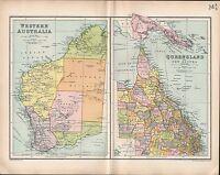 1903 MAP ~ WESTERN AUSTRALIA ~ QUEENSLAND & NEW GUINEA