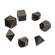 7x Copper Color Retro Metal Polyhedral Dice DND Role Playing Game Set