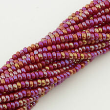 Vintage Seed Beads Charlotte  11/0 Opaque Ruby Red AB 1 hank 23g 10612002