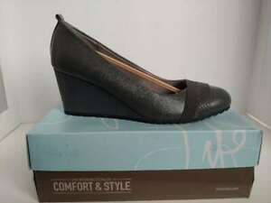 NWT Women's Dark Gray LifeStride  Parigi Wedge (F207751020) Size 7W #GR