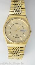 Seiko S2 Men's 7123-8059 Vintage Gold Tone Watch Day Date Champagne Dial Lion