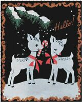 Retro Christmas Reindeer & Candy Cane DIGITAL Counted Cross-Stitch Pattern Chart