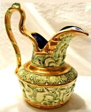 New listing Neoclassical Majolica High Handle Ornate Pitcher circa 1930s Artist Signed