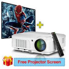 LCD LED Projector 1080p HD Home Theater Movie HDMI with Portable 100'' Screen US