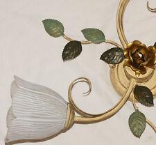 LAMPADA DA SOFFITTO CLASSICA ART.117 FORGIATO ANTICO VETRO FERRO CRISTALLO NUOVA