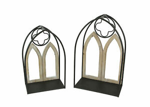 Set of 2 Gothic Arch Window Hanging Wall Shelves Metal Frame Decorative Arches