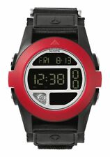 NIB New 50MM NIXON Baja A489-760 Black/Red Digital LCD Display w/Temp & Compass