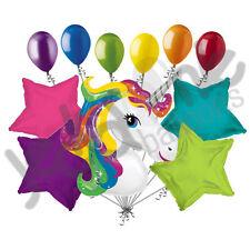 11 pc Rainbow Unicorn Happy Birthday Balloon Bouquet Magical Flying Horse Girl