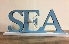 Blue Coastal Wooden SEA Freestanding Seaside Plaque with Shell 5830