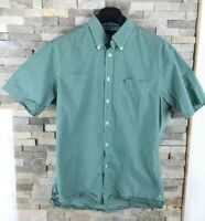 Tommy Hilfiger Mens Size M Checked Green Short Sleeve Shirt Custom Fit