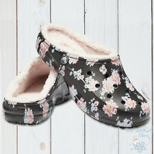 NWT CROCS FREESAIL AUTHENTIC WOMEN'S BLACK FLORAL FUZZY LINED SLIP ON CLOGS 8