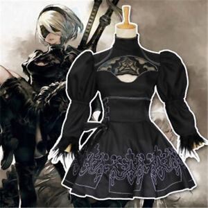 Halloween NieR:Automata 2B Cosplay Costume Women Black Dress Gloves+Eyepatch