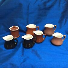 Lot of 6 vintage Handled Creamers~ Ceramic mini -pitcher Marked HALL etc. USA