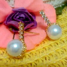 New Pearl Stud Eearrings Women Crystal 24K Yellow Gold Filled Girl Birthday Gift