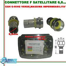 CONNETTORE F SATELLITARE 6,8mm 25 PEZZI CON O-RING MASSIMA IMPERMEABILITA'
