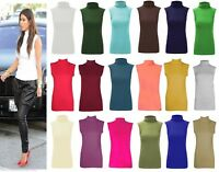 Womens Ladies Sleeveless Plain Polo High Neck Turtle Slim Fit Top Vest T-Shirt