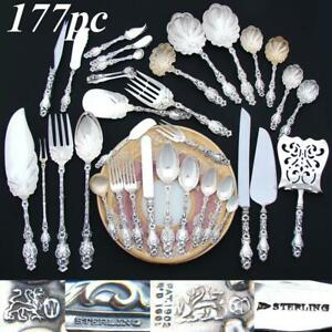 "Antique ""Lily"" by Whiting Sterling Silver Service, 177 Pieces, Service for 12"