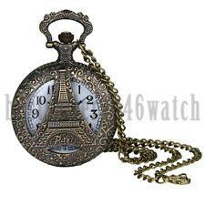 Antique Retro Quartz Pocket Watch Pendant Necklace Sweater Chain Tower Case