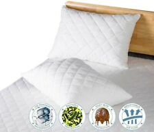 Pack Of 4 Pillow Protectors 100% Cotton Quilted Zippered Pillowcases