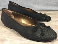Cole Haan Formal Black Hand Made Slip On Cap Toe Loafers Shoes Bow Women 8 B