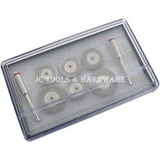 "6PC DIAMOND CUTTING DISC SET 1/8"" SHANK Rotary Drill Glass Metal Stone Blade Cut"