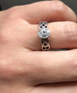 Solid Silver 925 Cubic Zirconia Celtic Knot Ring Size M